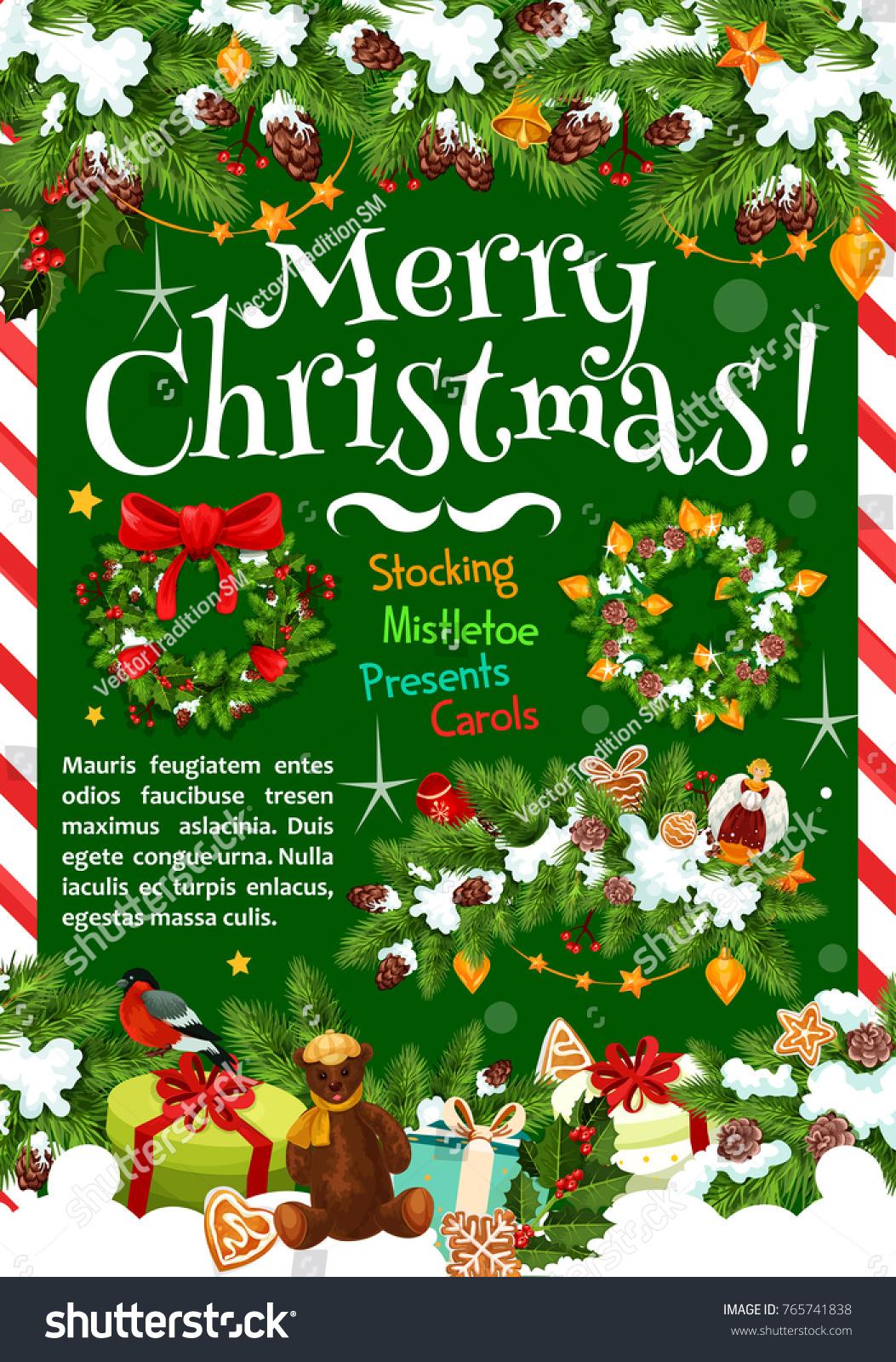 Merry Christmas Winter Season Greeting Card Stock Vector Royalty