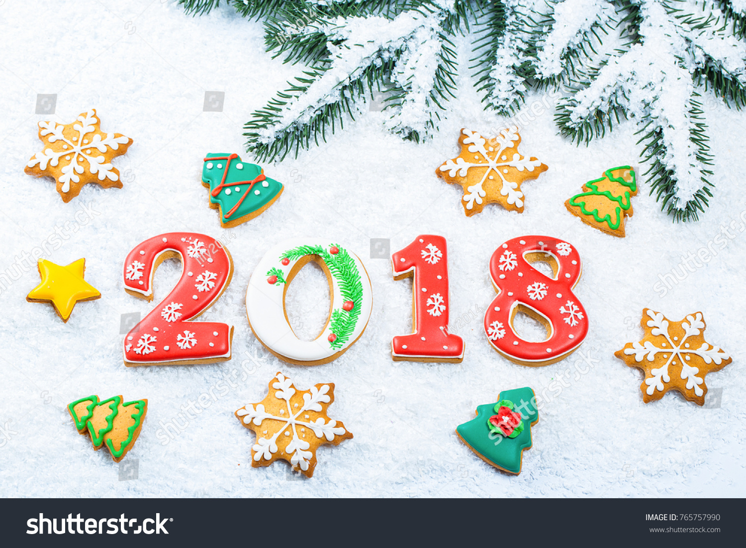 Christmas Background Gingerbread Cookie 2018 Snow Stock Photo (Edit ...