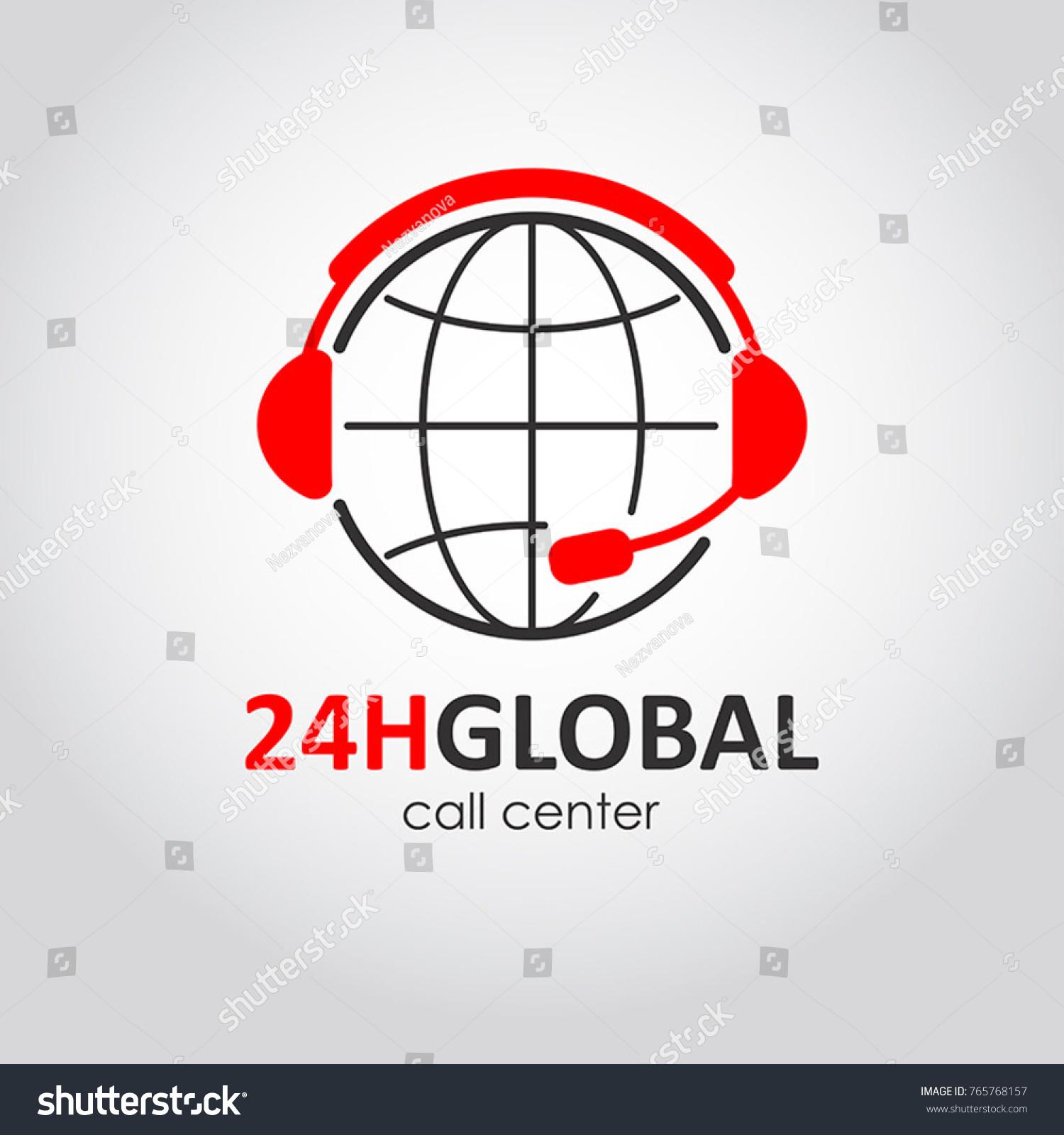 Global Call Center Flat Style Logo Stock-Vektorgrafik (Lizenzfrei ...