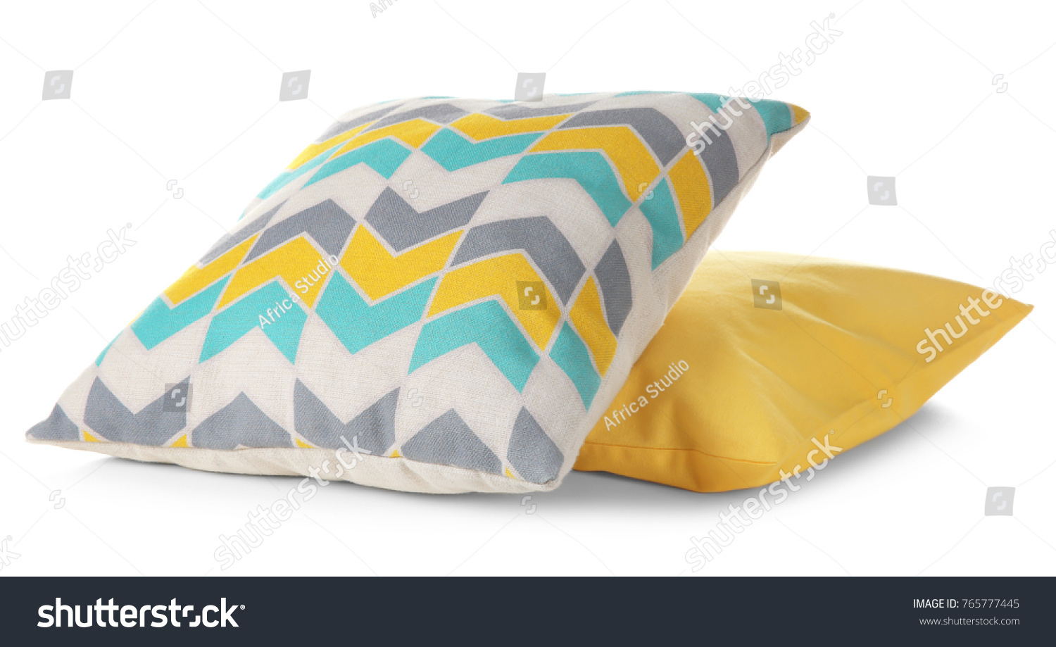 Soft colorful pillows, isolated on white