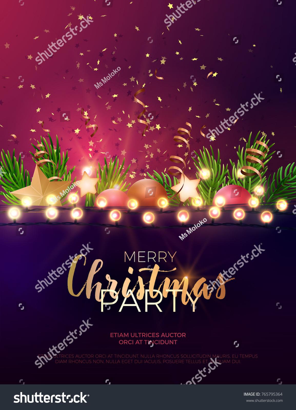 Festive Christmas New Year Vector Party Stock Vector 765795364 ...