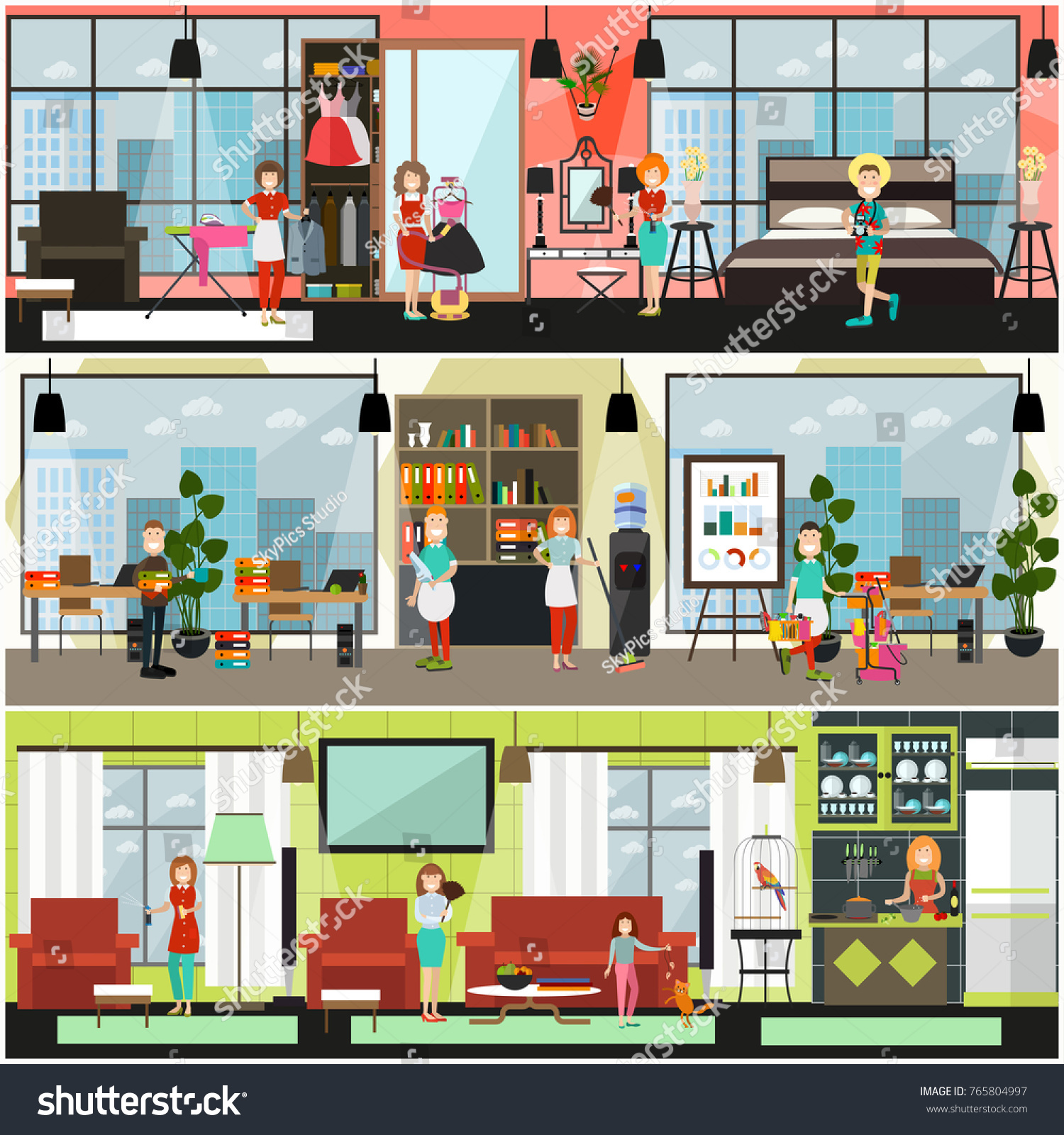Vector Home And Office Cleaning Services Poster, Banner Set. Flat Style  Design Elements For