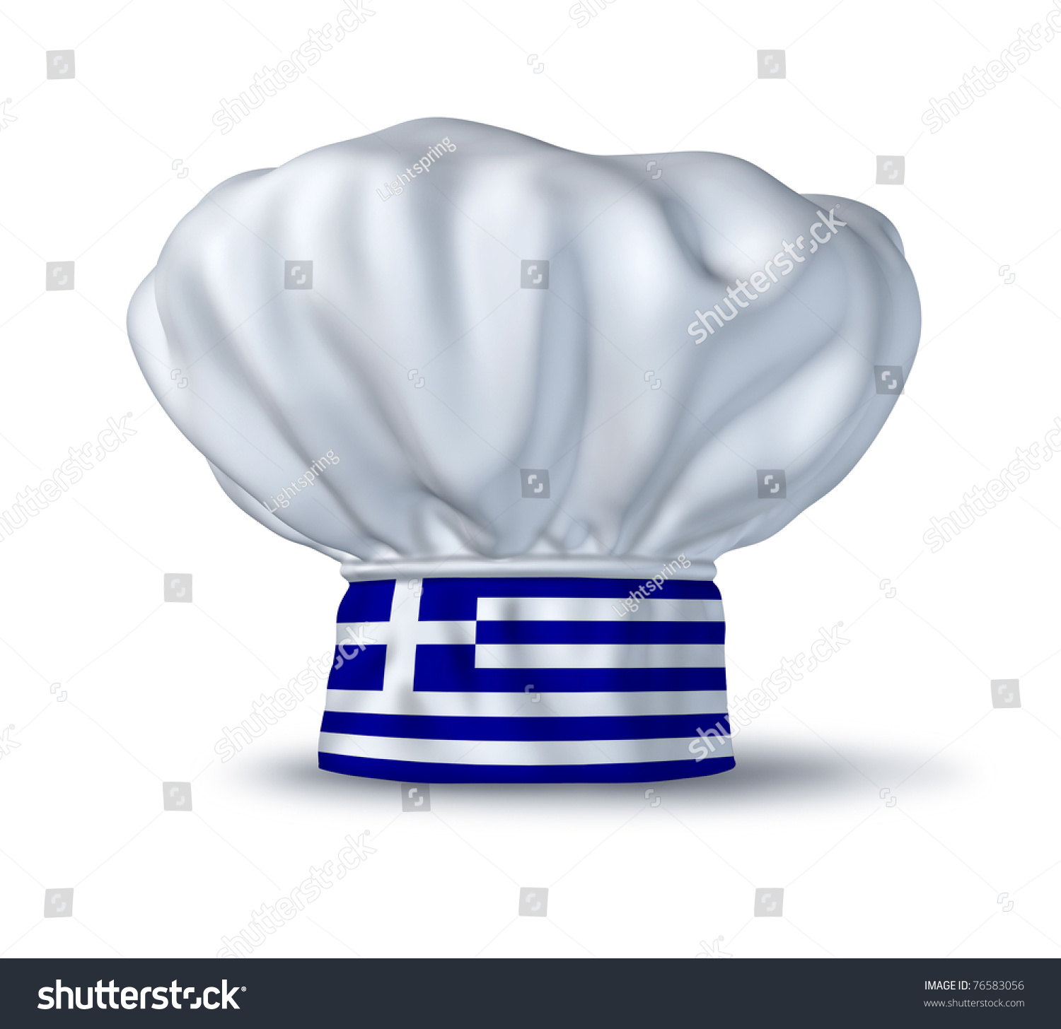 Italian Restaurant Logo With Flag: Greek Cooking Symbol Represented By Chefs Stock