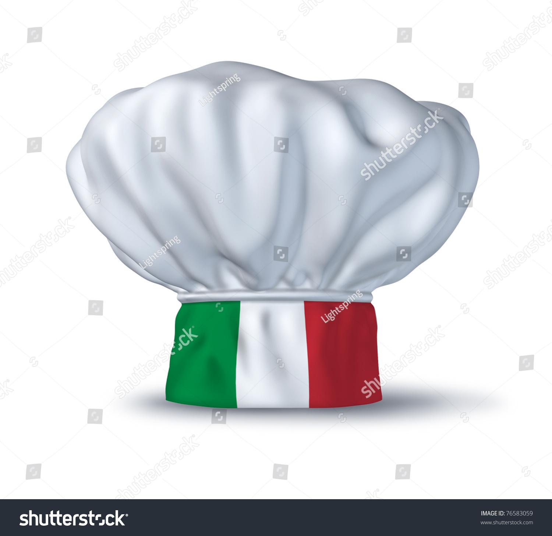 Italian Restaurant Logo With Flag: Italian Food Symbol Represented By Chef Stock Illustration