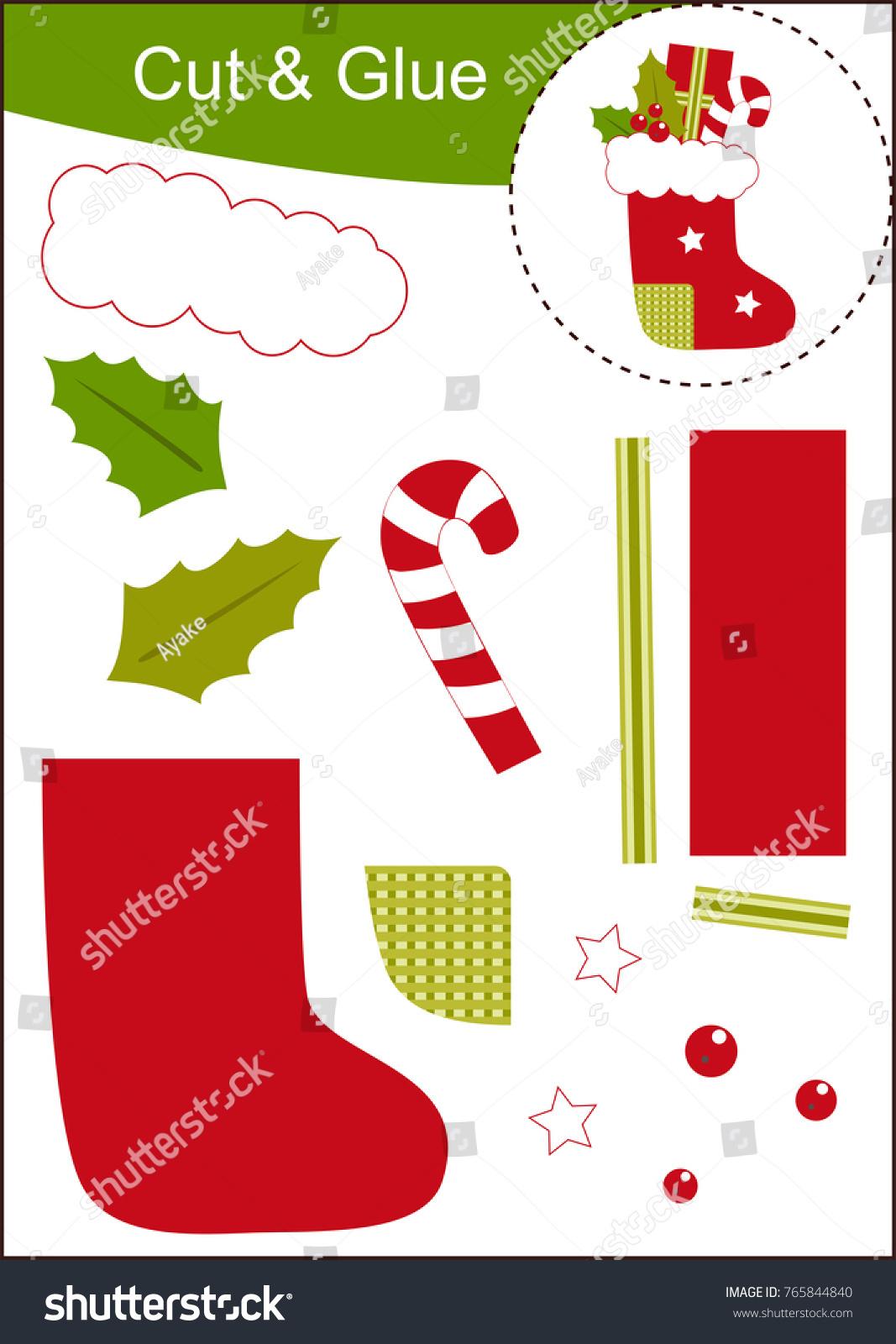 Cut Paste Worksheet Christmas Sock Stock Vector HD (Royalty Free ...