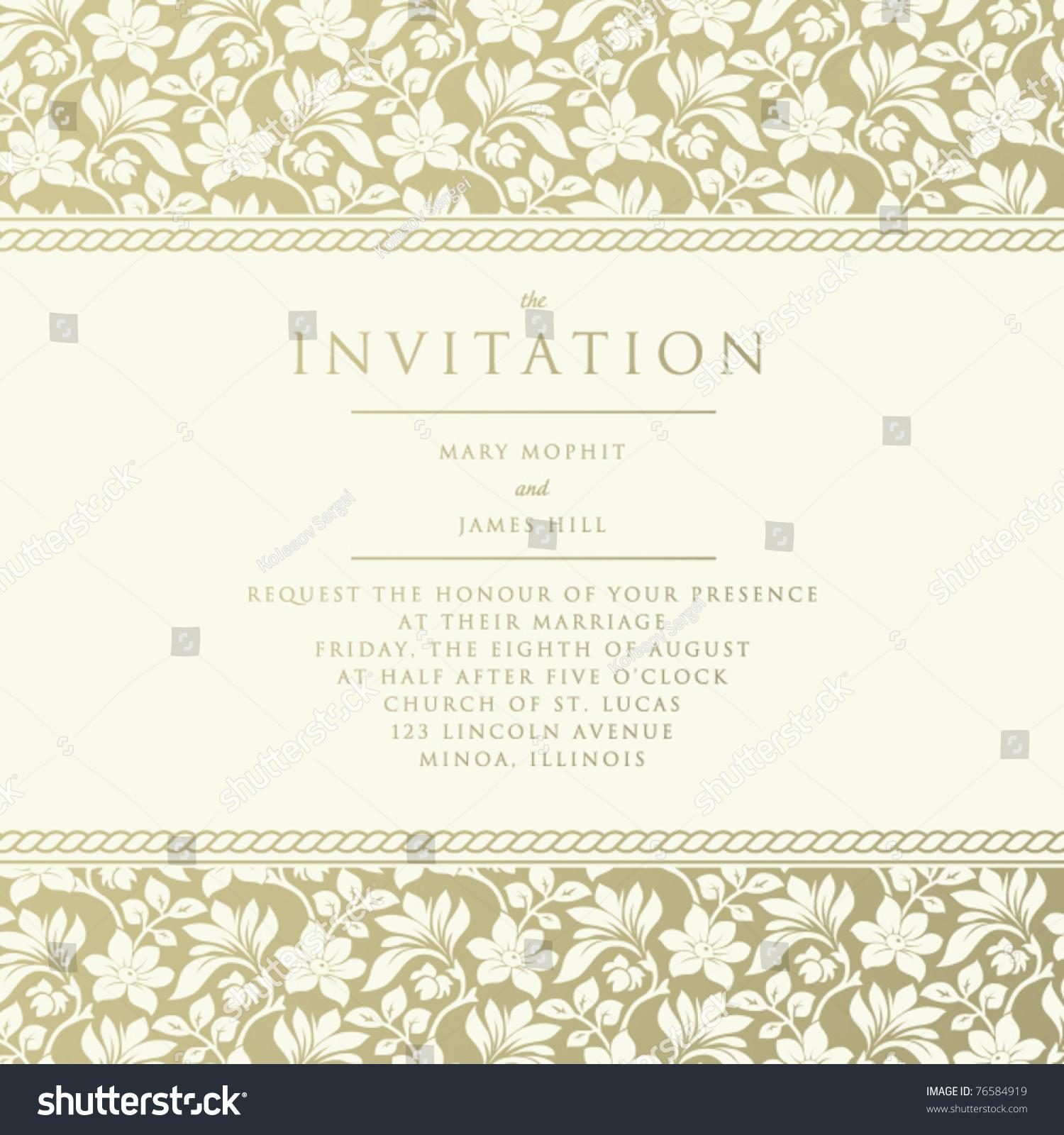 Wedding Altar Call: Ornate Damask Background. Invitation To The Wedding Or
