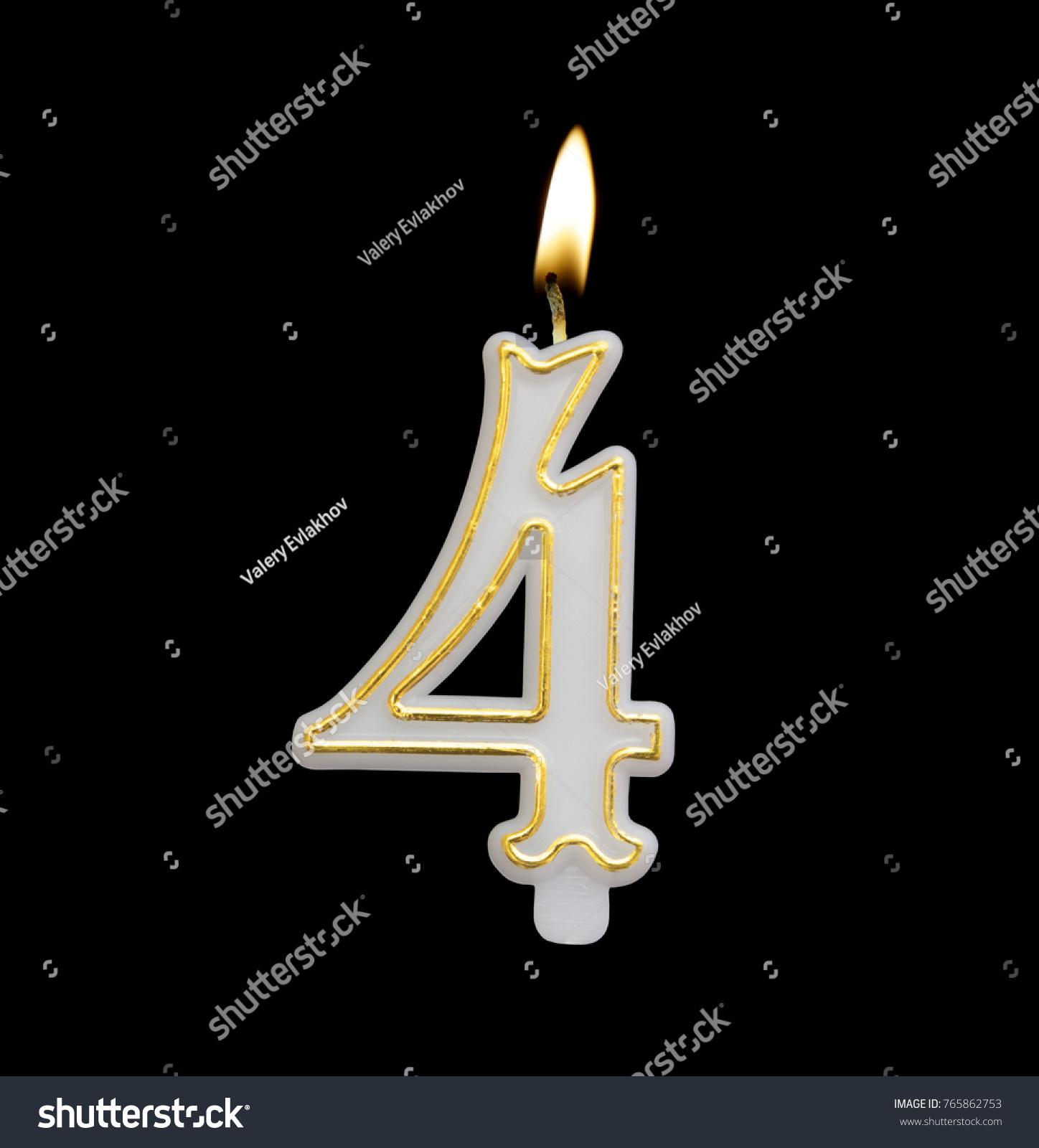 Burning Birthday Candle Isolated On Black Background Number 4
