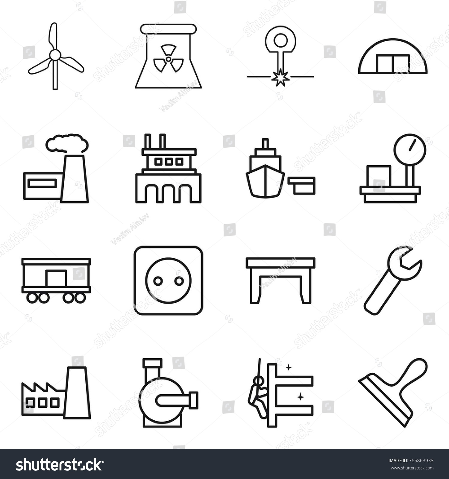 Thin line icon set windmill nuclear stock vector 765863938 thin line icon set windmill nuclear power laser hangare factory pooptronica Gallery