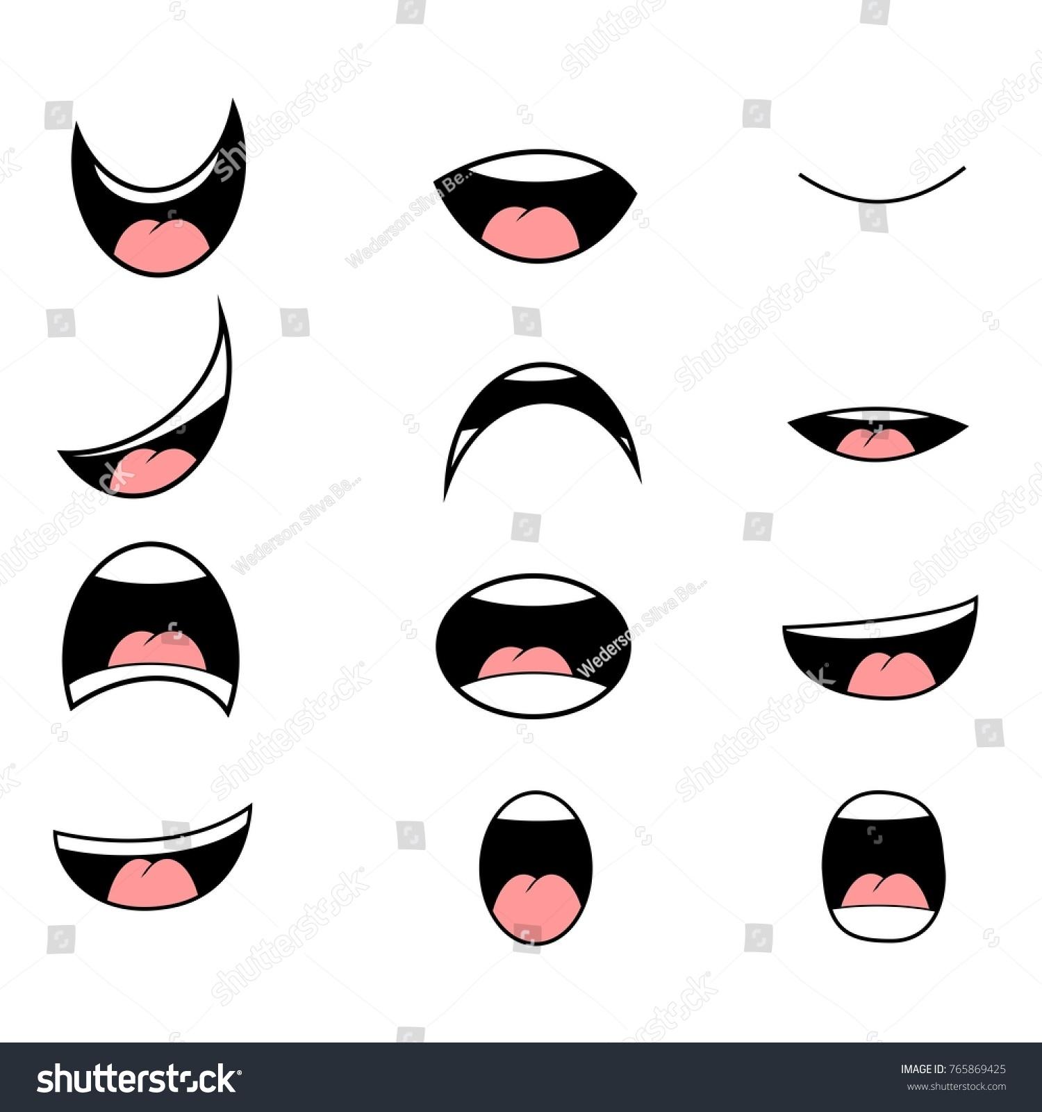 Set Cartoon Mouth Poses Animation Vector Stock-Vektorgrafik ...