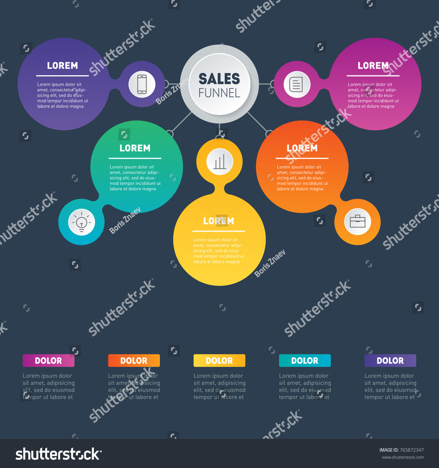 Web Template Sales Pipeline Purchase Funnel Stock Vector Royalty