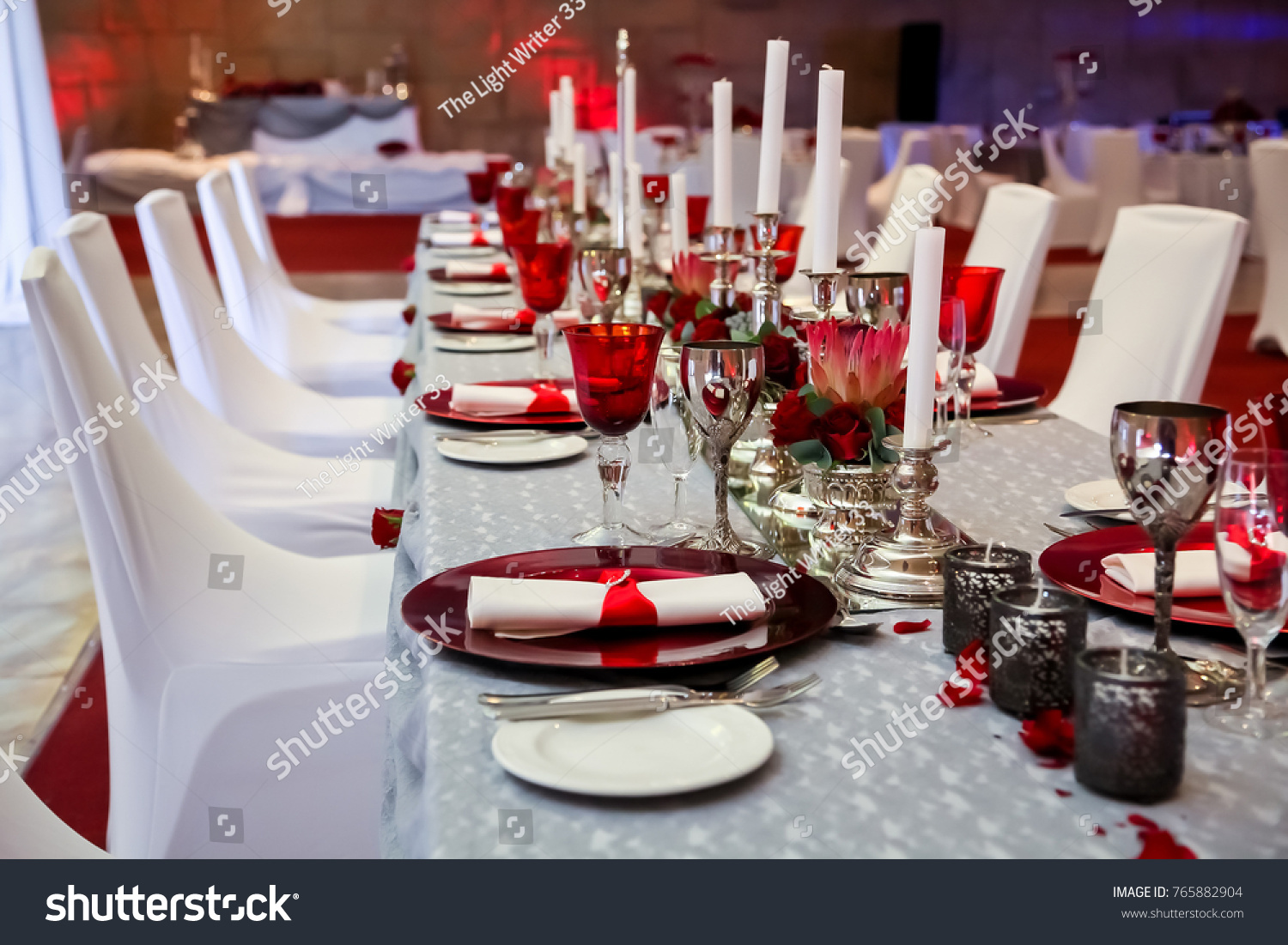 Table Layout Christmas Party Table Setting Stock Photo Edit Now