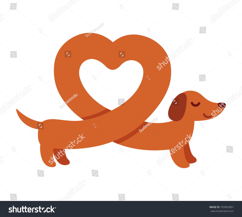 Cute Cartoon Dachshund With Heart Shaped Body Funny Weiner Dog St