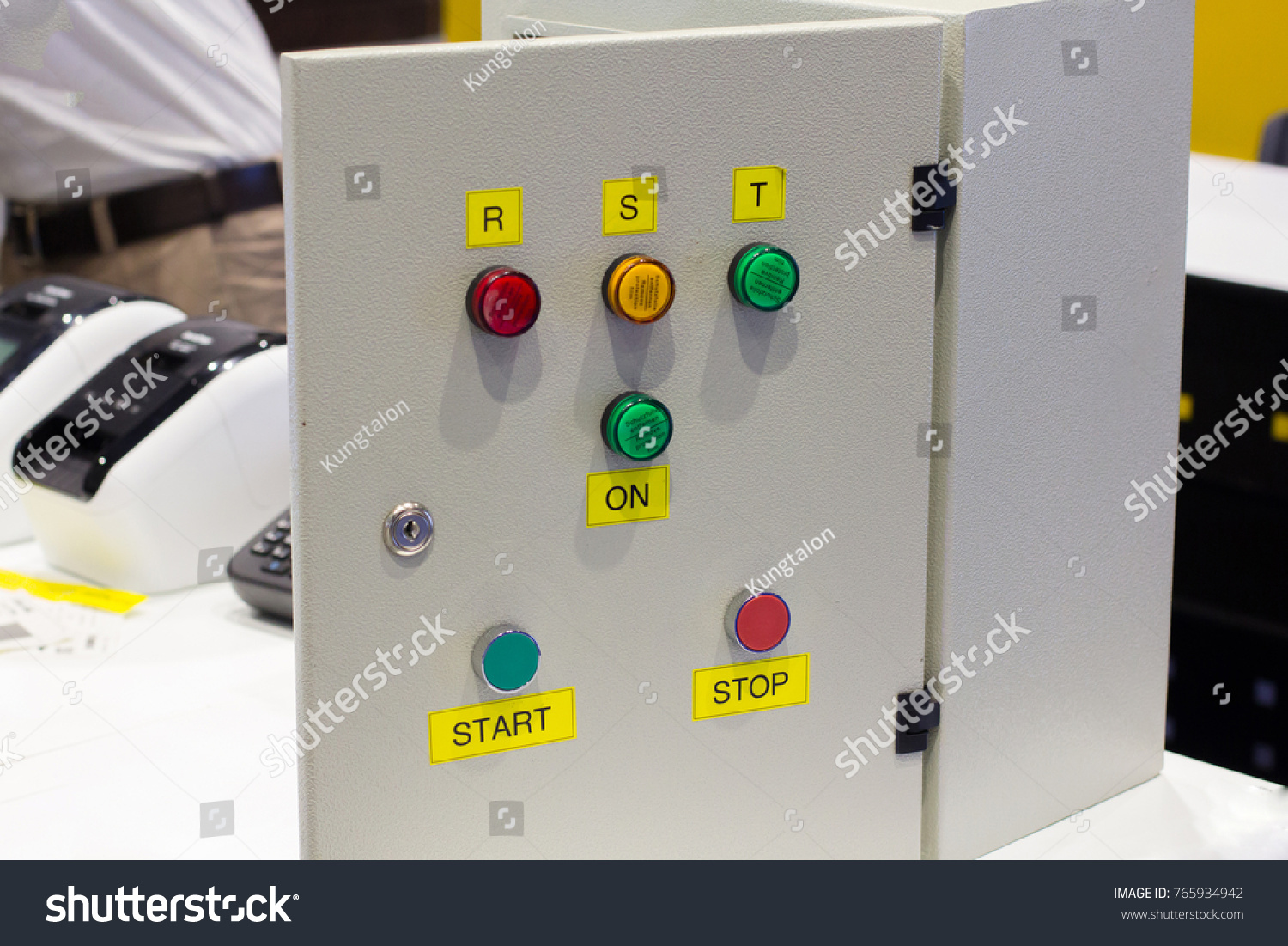 Sticker printing indicate button status name stock photo edit now