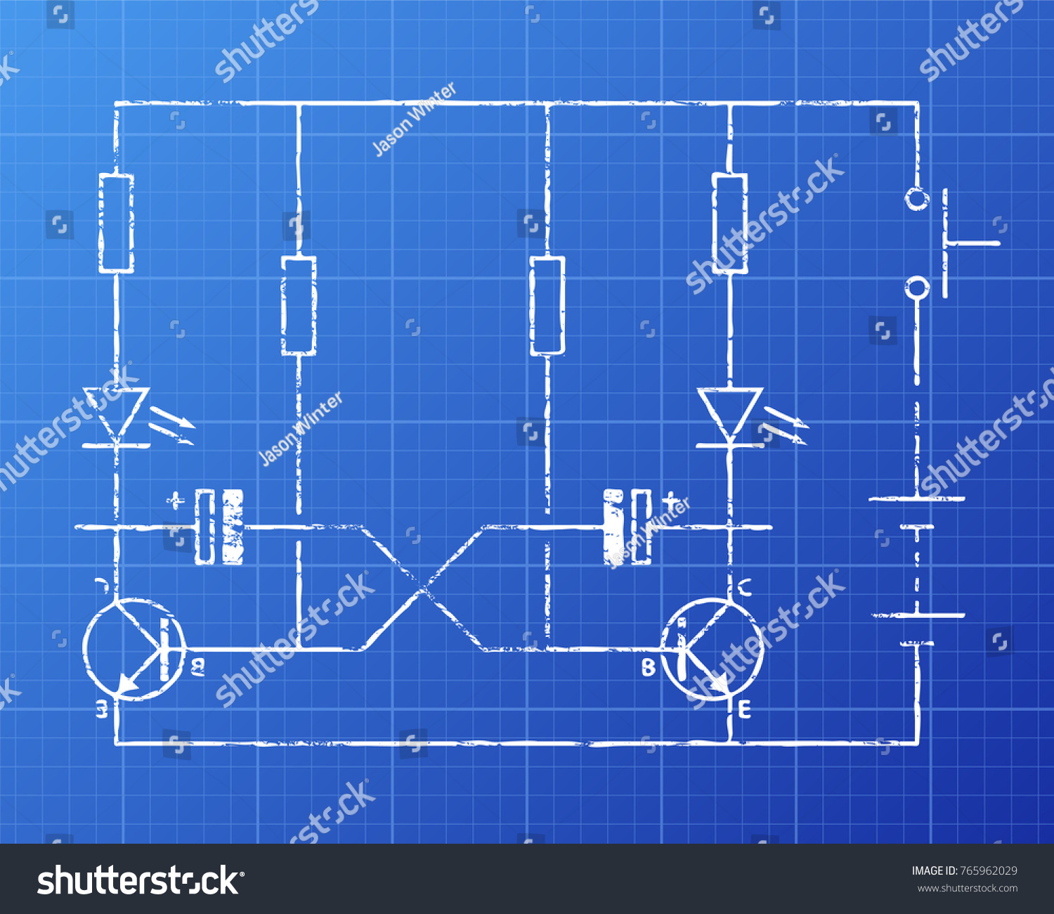 Simple Flip Flop Circuit Hand Drawn Stock Illustration 765962029 Diagram On Blueprint Background