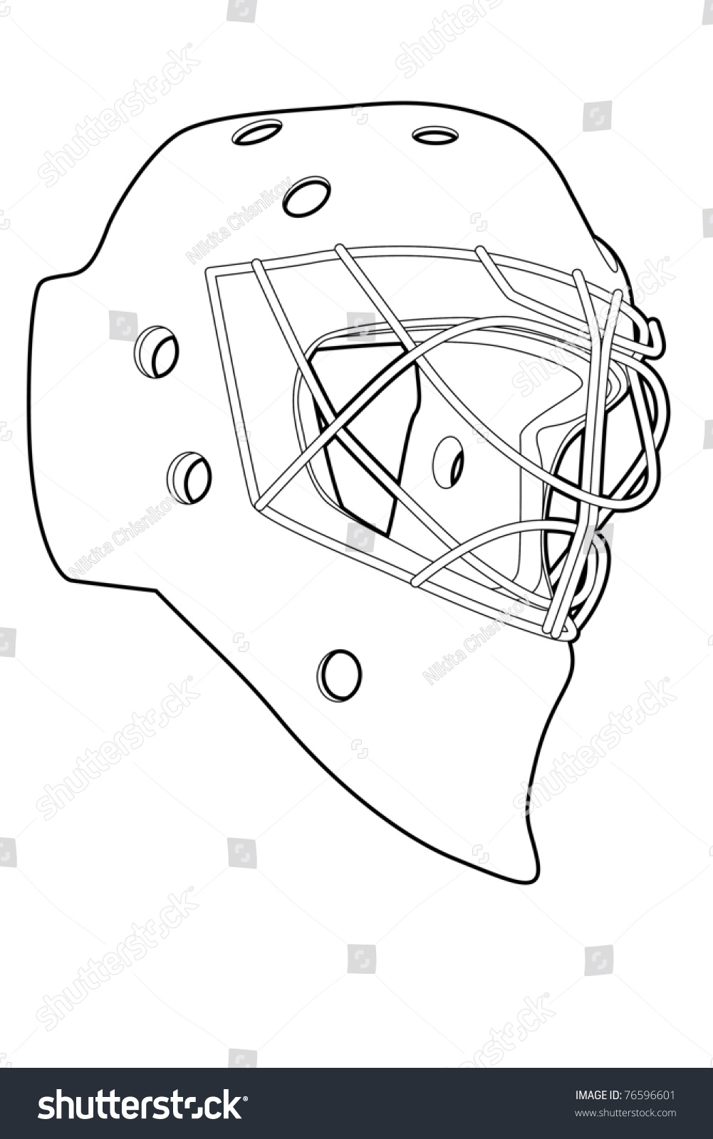 outline hockey mask on white background vector illustration 76596601 shutterstock. Black Bedroom Furniture Sets. Home Design Ideas