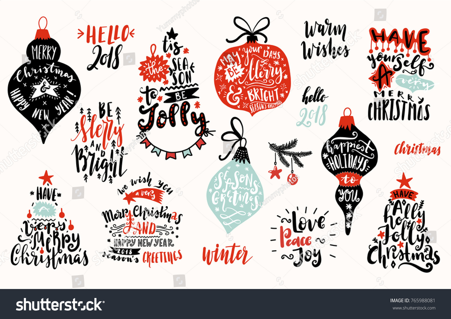 christmas and new year cartoon doodle lettering illustration greeting cards ideas