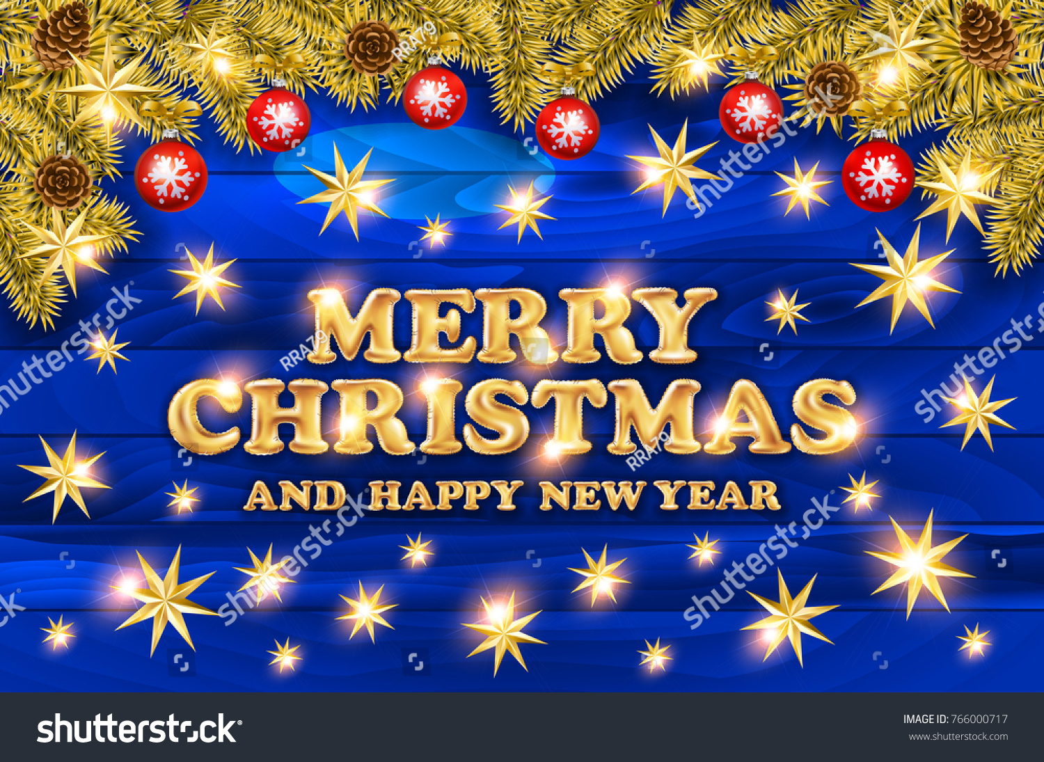 2018 merry christmas and happy new year card with christmas balls and serpentine on wood background