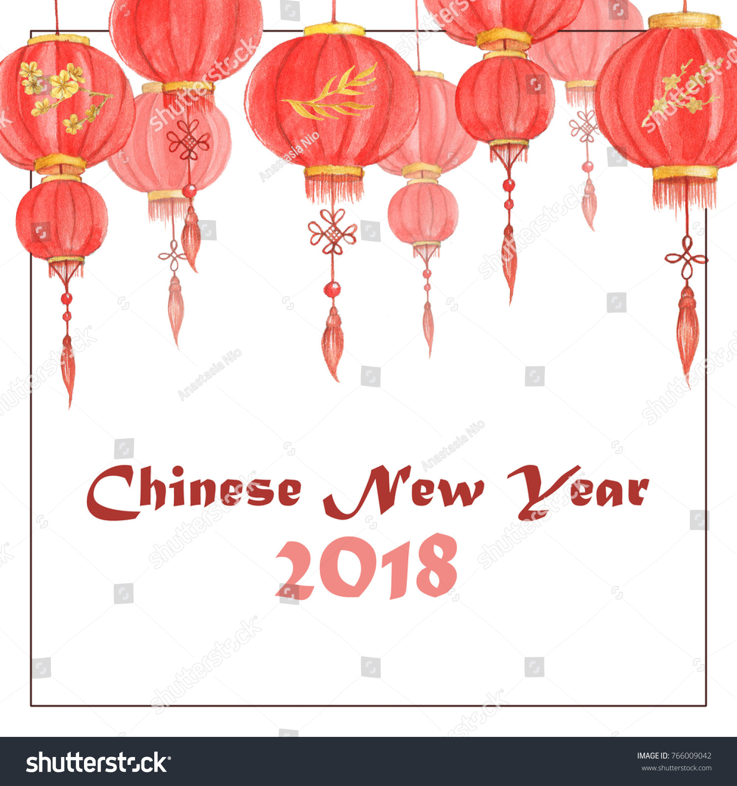 handdrawn watercolor illustration chinese lanterns chinese stock