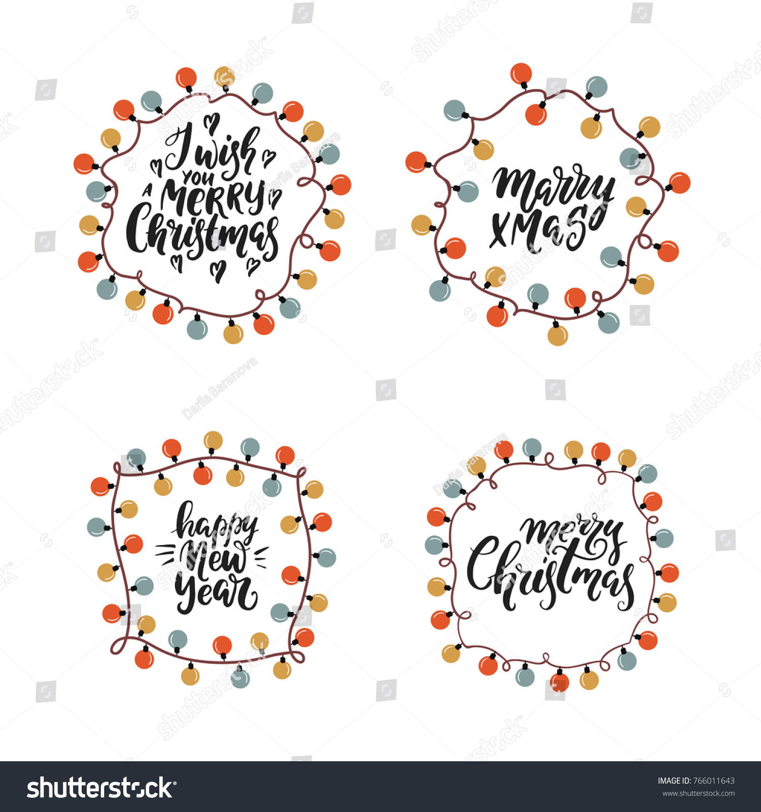 vector set of christmas lights frame with lettering on white background easy to use
