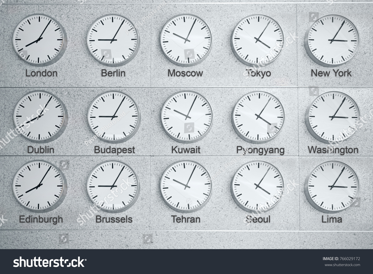 15 Wall Clocks Showing Time Different Stock Photo Edit Now