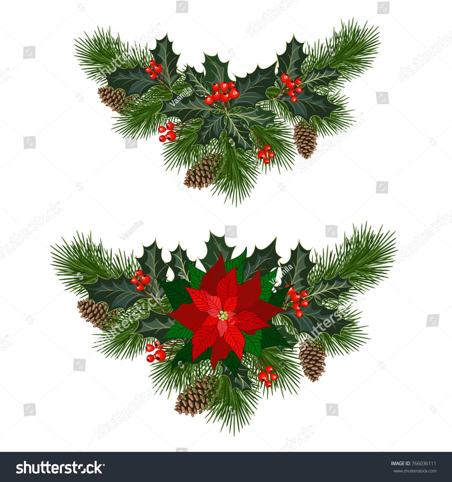 Christmas Decorations Poinsettia Fir Tree Pine Stock Vector