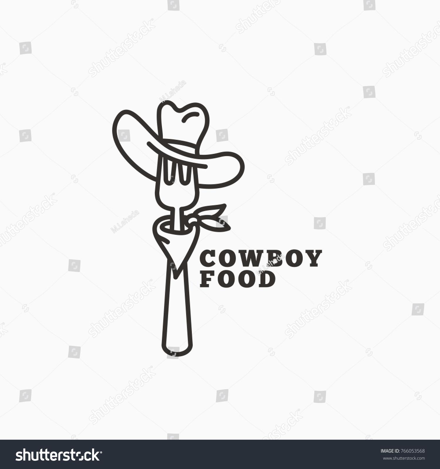 Cowboy Food Logo Template Design Fork Stock Vector (2018) 766053568 ...