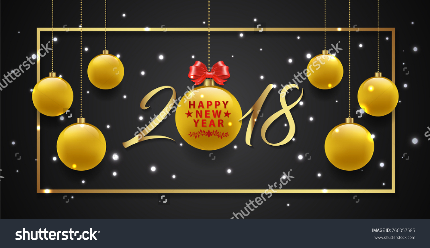 happy new year 2018 banner template golden glitter balls stars fame ribbons and