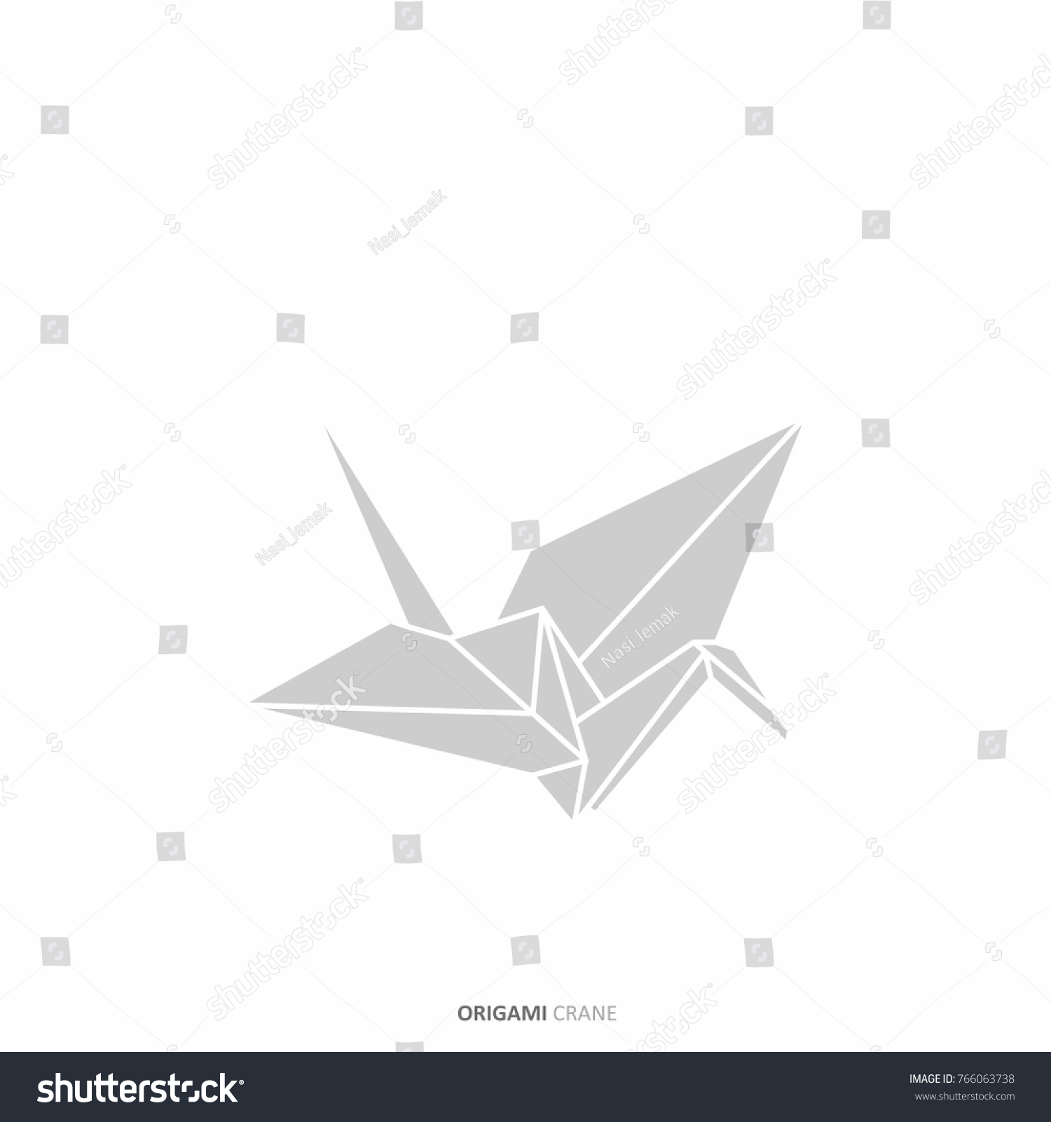 Origami Crane Outline Traditional Japanese Graphic Stock Vector Goose Diagrams In Design Concept