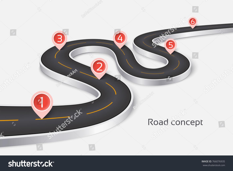 Winding 3 D Road Infographic Concept On Stock-Vektorgrafik 766076935 ...