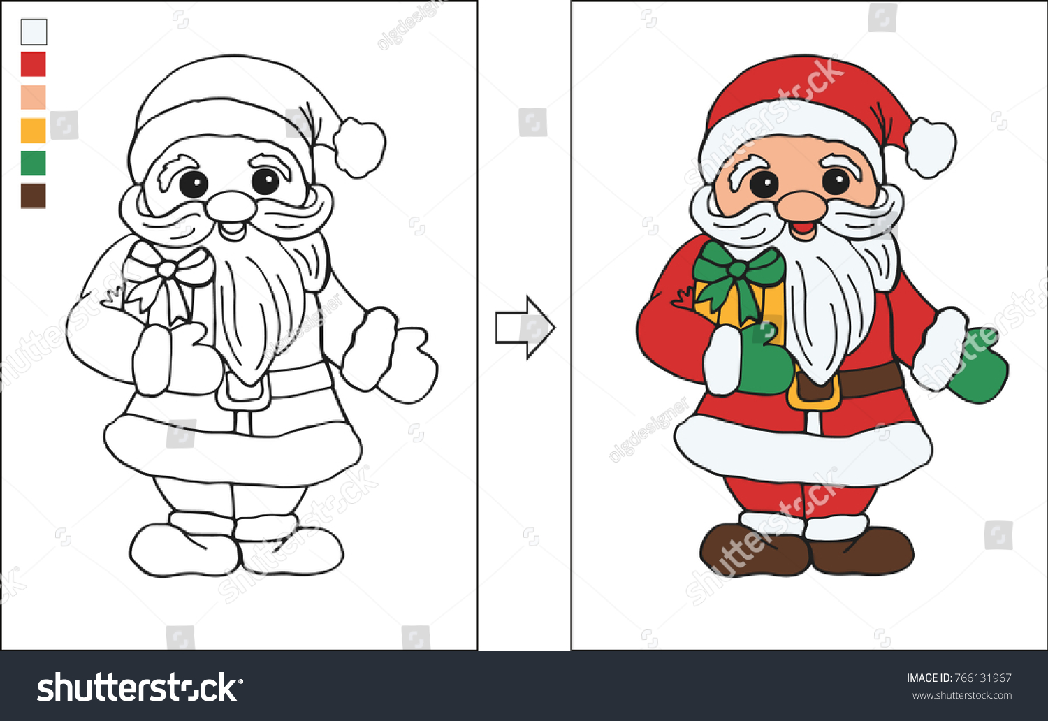 Christmas Coloring Page Santa Claus Little Stock Vector Royalty Free 766131967