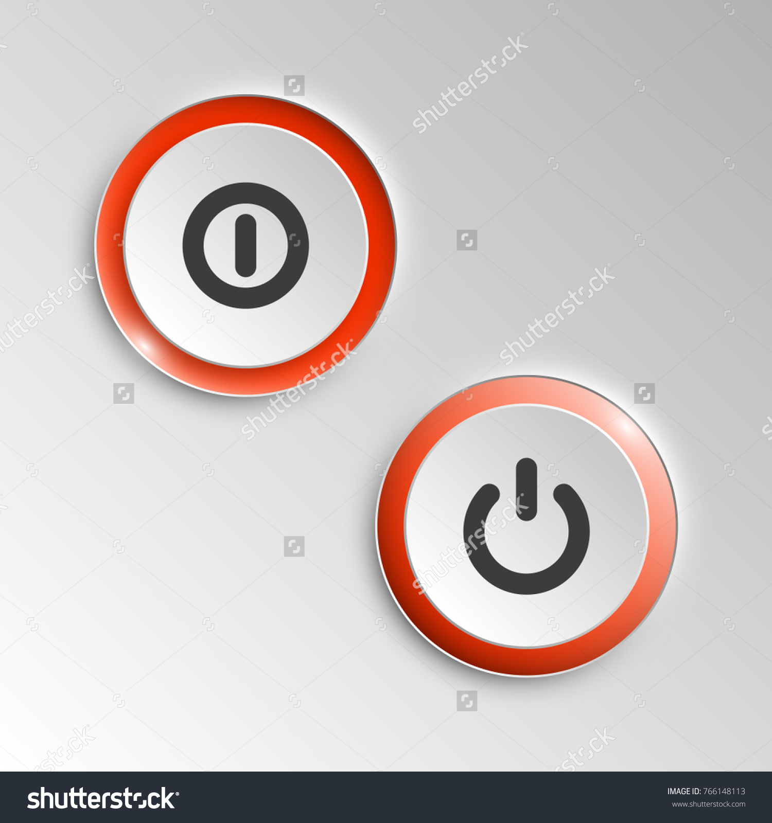 Web Round Button On Off Mark Stock Vector Royalty Free 766148113