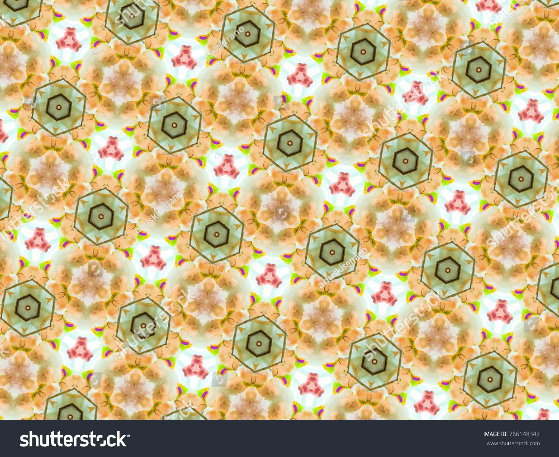 Multicolor mosaic pattern kaleidoscope in orange, brown and green ...