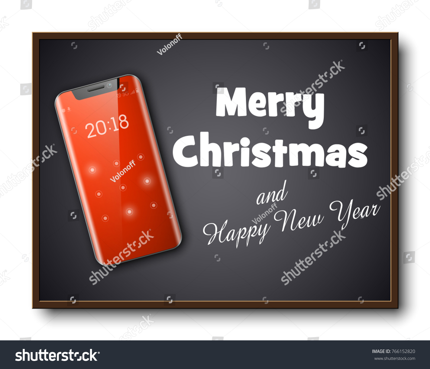 Greeting Card Merry Christmas Happy New Stock Vector Royalty Free