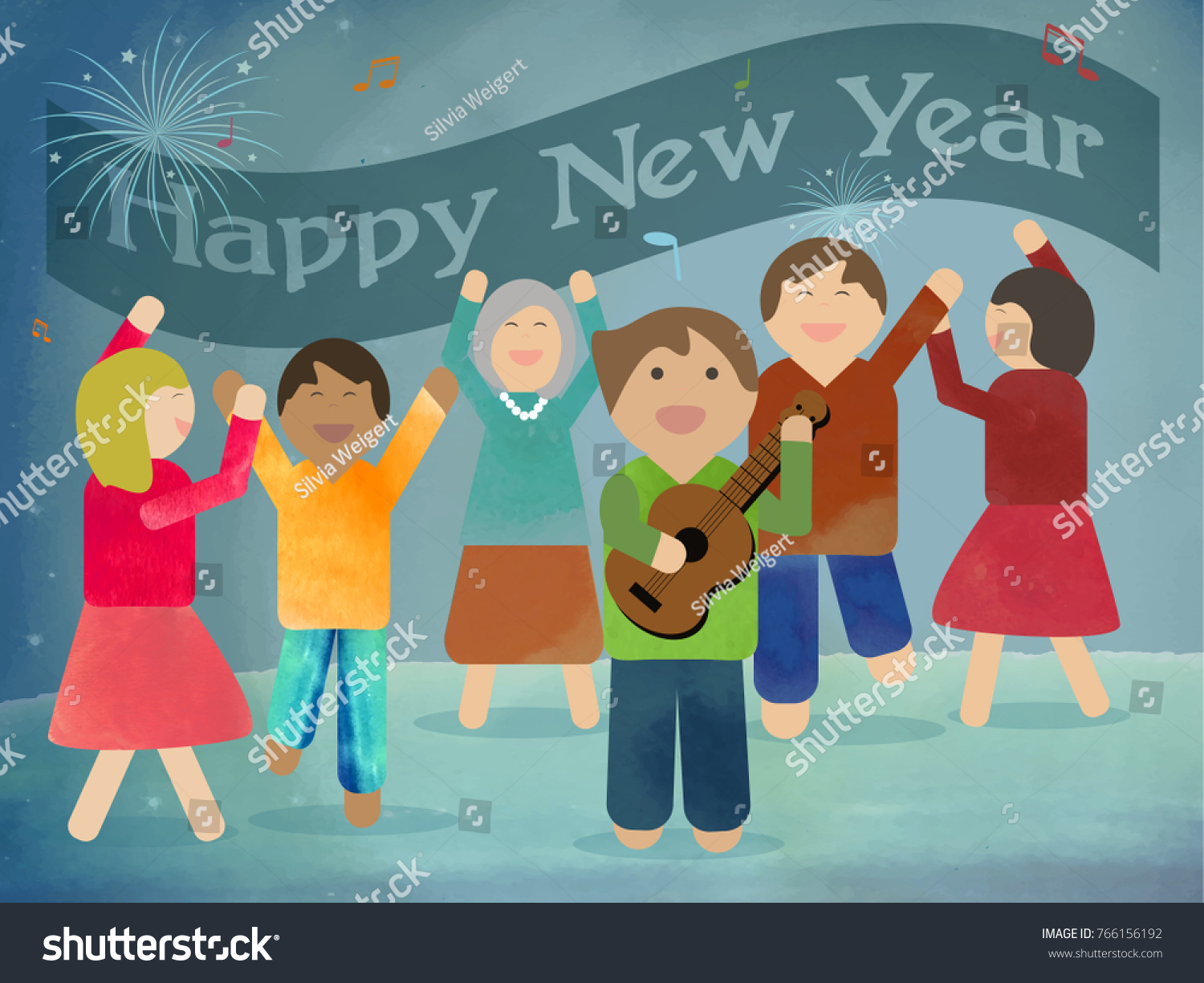 happy new year have fun take the ukulele make music dance and enjoy