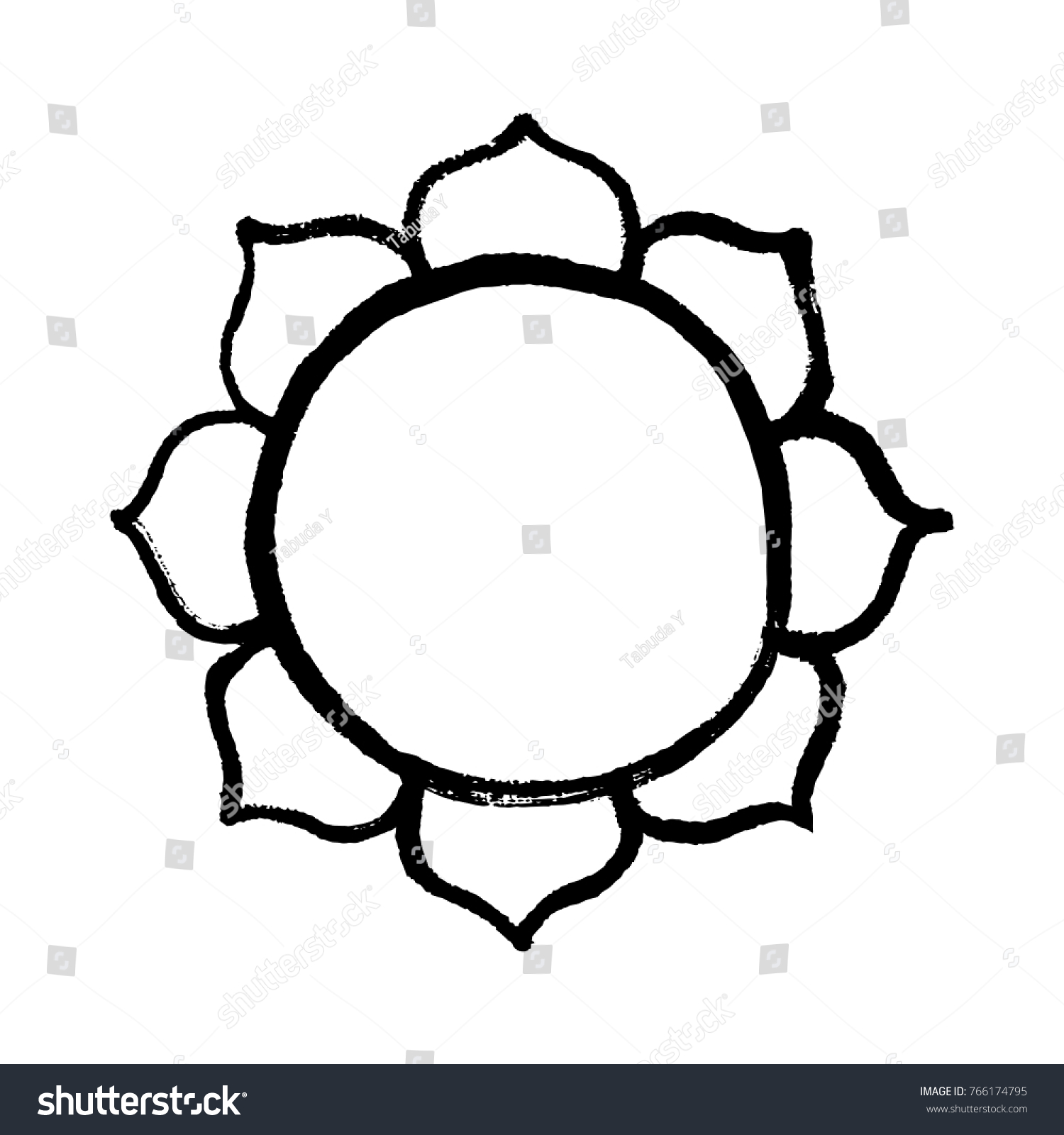 Lotus Flower Buddhist Symbol Handmade Vector Stock Vector Royalty