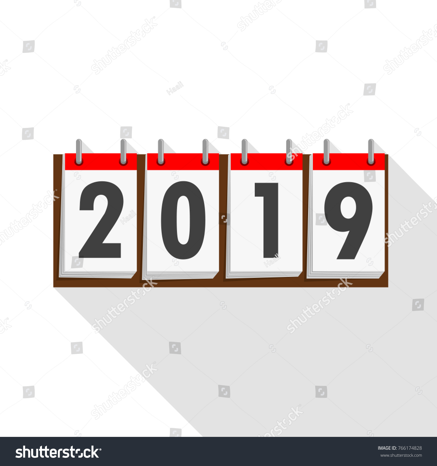 calendar icon 2019 in flat design vector illustration happy new year 2019