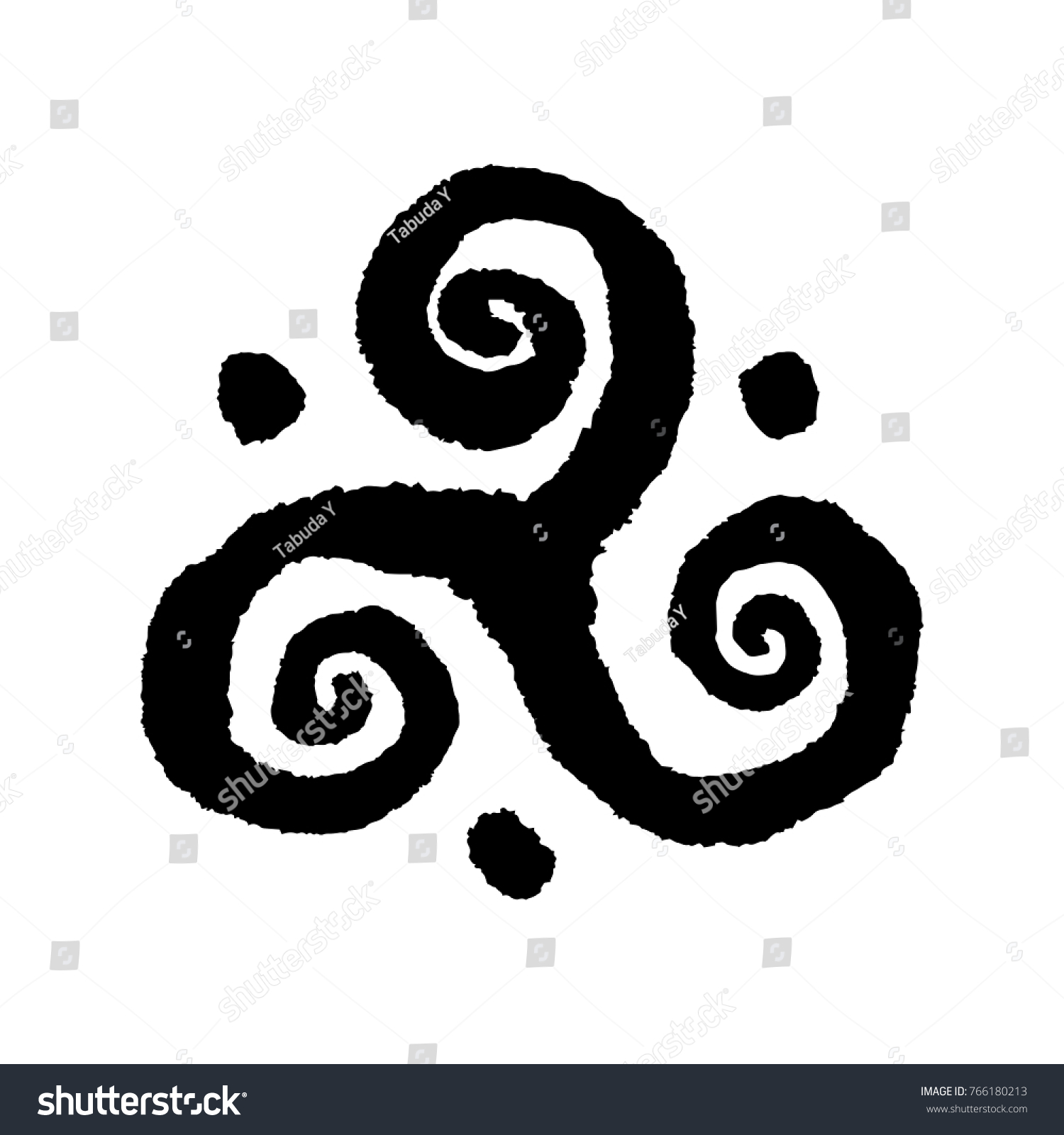 Triskele Buddhist Triple Spiral Symbol Handmade Stock Vector