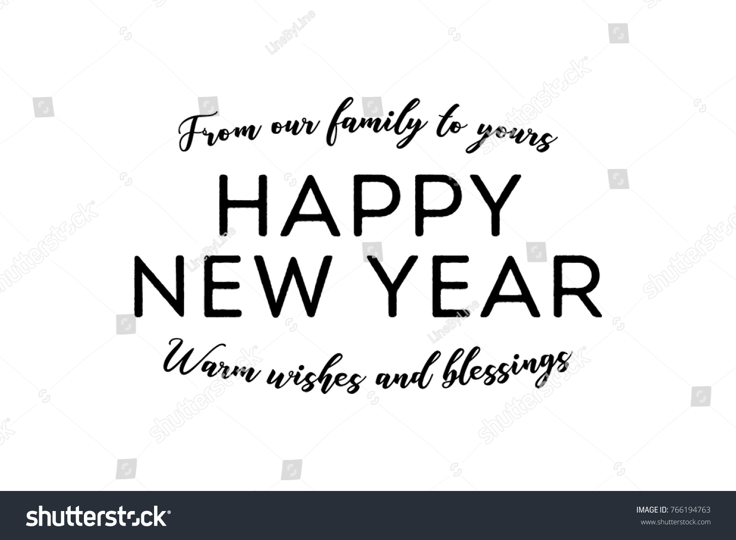 from our family to yours happy new year text graphic vector illustration