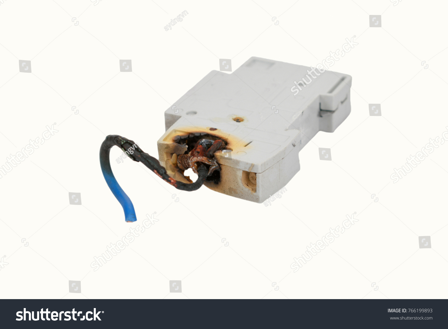 Burned Electrical Circuit Breaker Fuse Box Stock Photo Edit Now On White Background The Cable