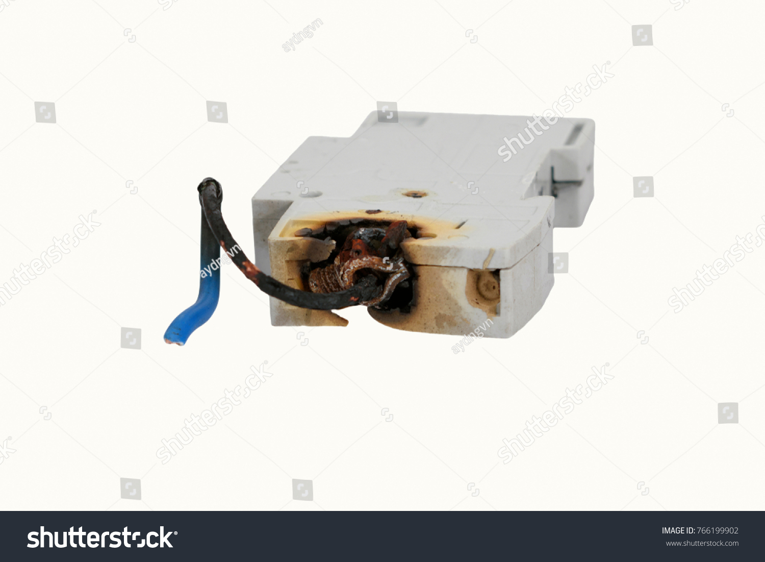 Burnt Breaker Fuse Box Wiring Library Circuit Burned Electrical On White Background The Cable