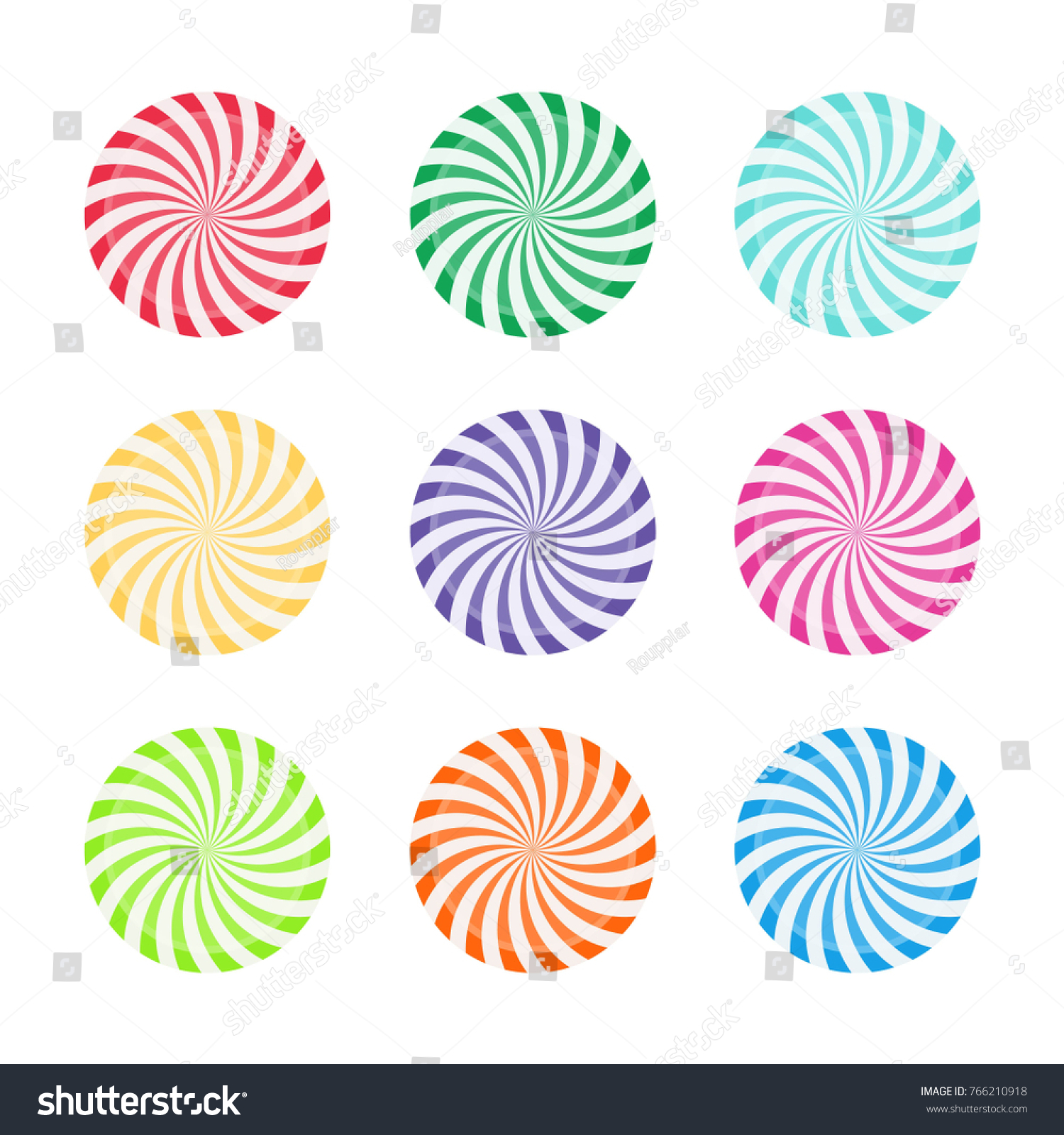 Set Of Colorful Peppermint Candies Round Sweet Lollipop Candy Template Design For Celebration