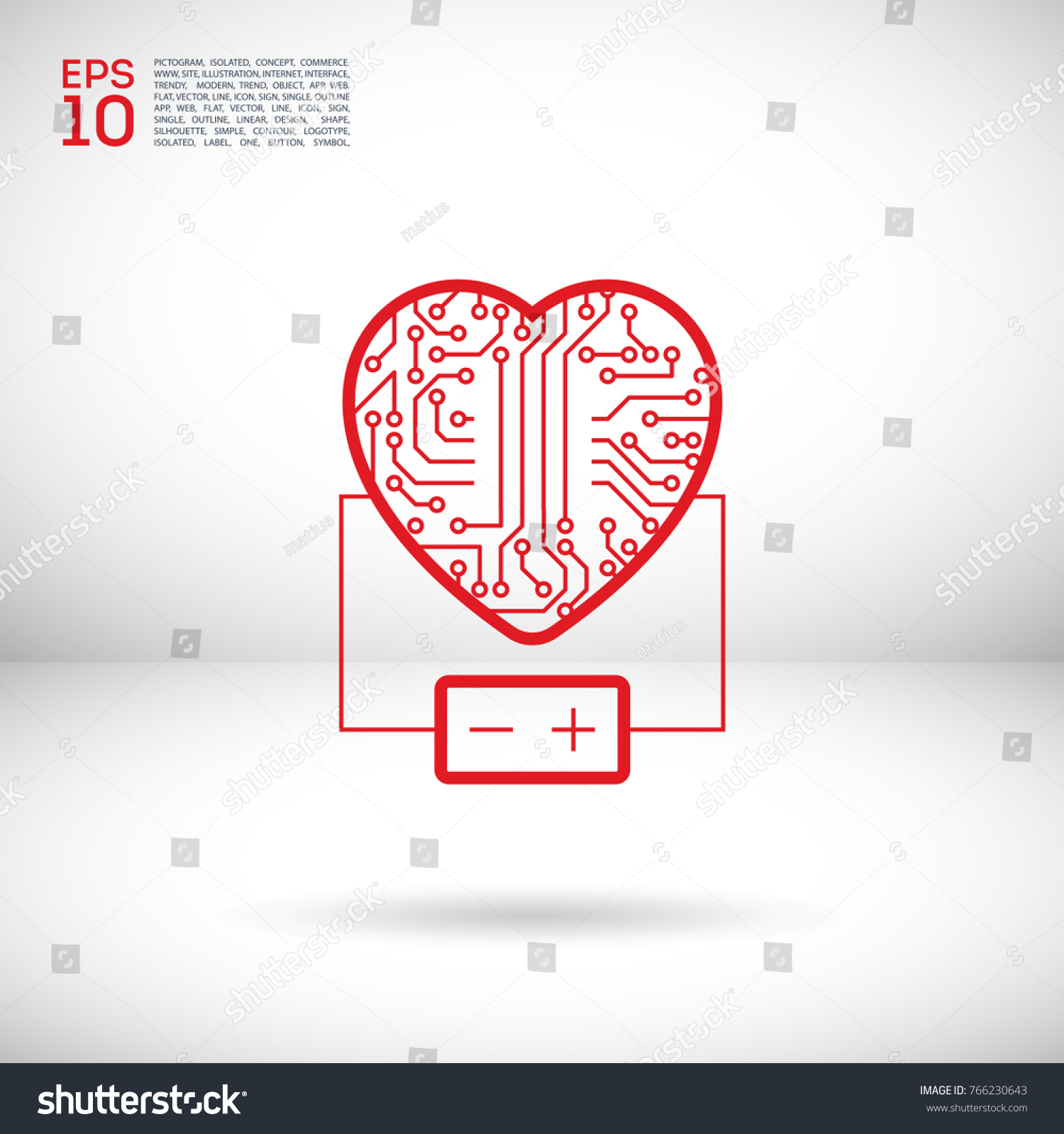 Electronic Circuit Board Heart Battery Line Stock Vector Royalty Symbols With Icon