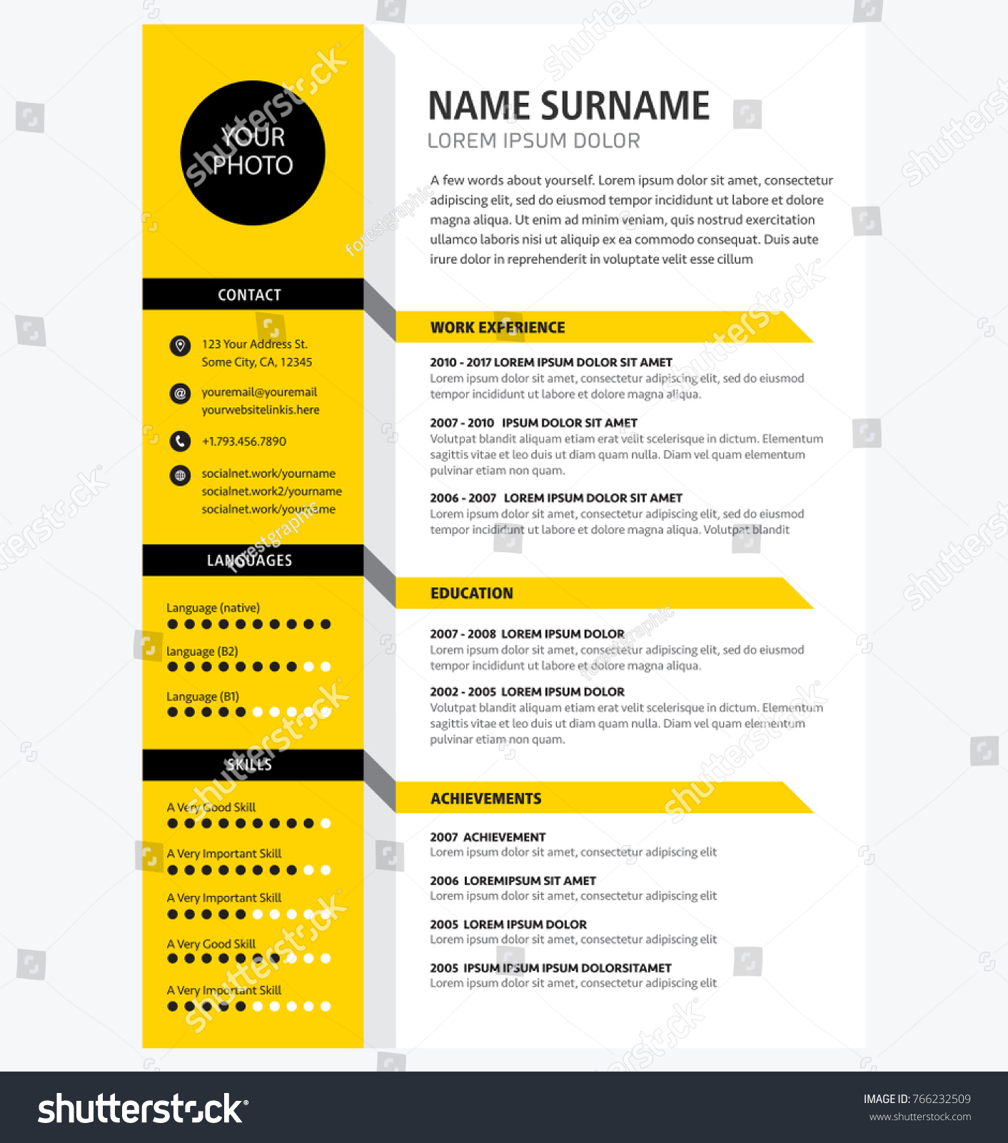 creative cv resume template yellow color のベクター画像素材