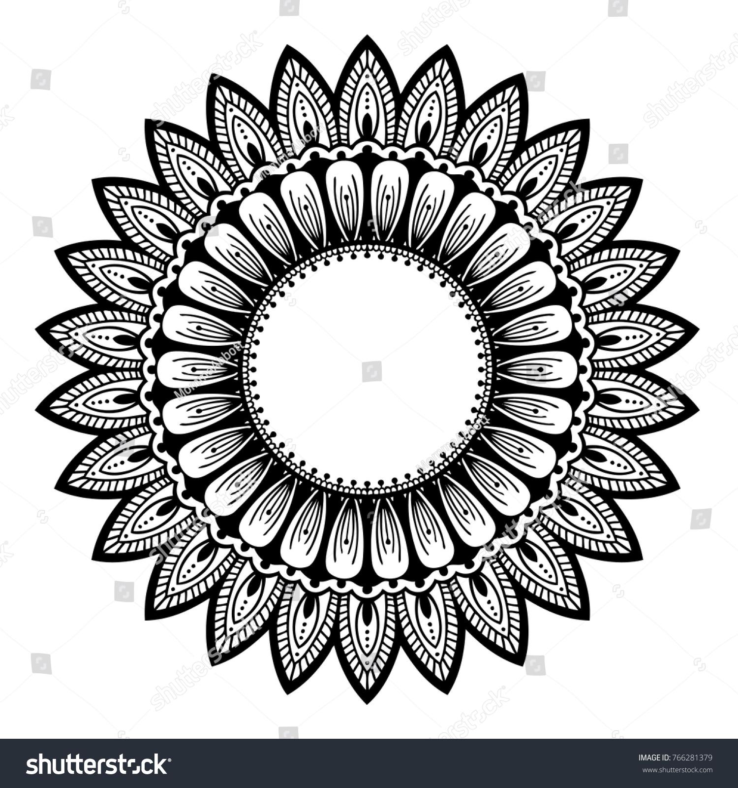 Sunflower Mandala Hand Drawn Vector Illustration Coloring Page
