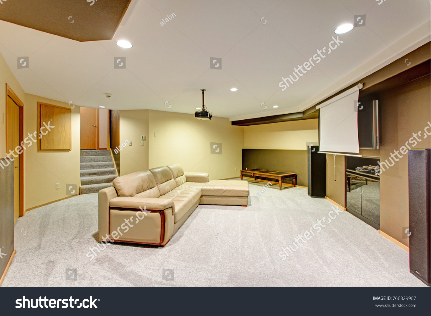 Beige Basement Movie Room Features Leather Buildings Landmarks Stock Image 766329907
