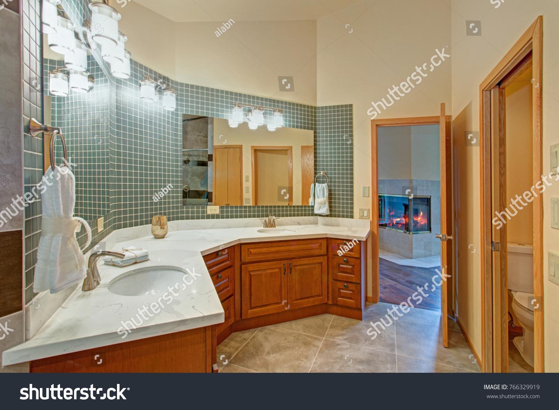 Stunning Bathroom Light Wood Vanity Paired Stock Photo Edit Now 766329919