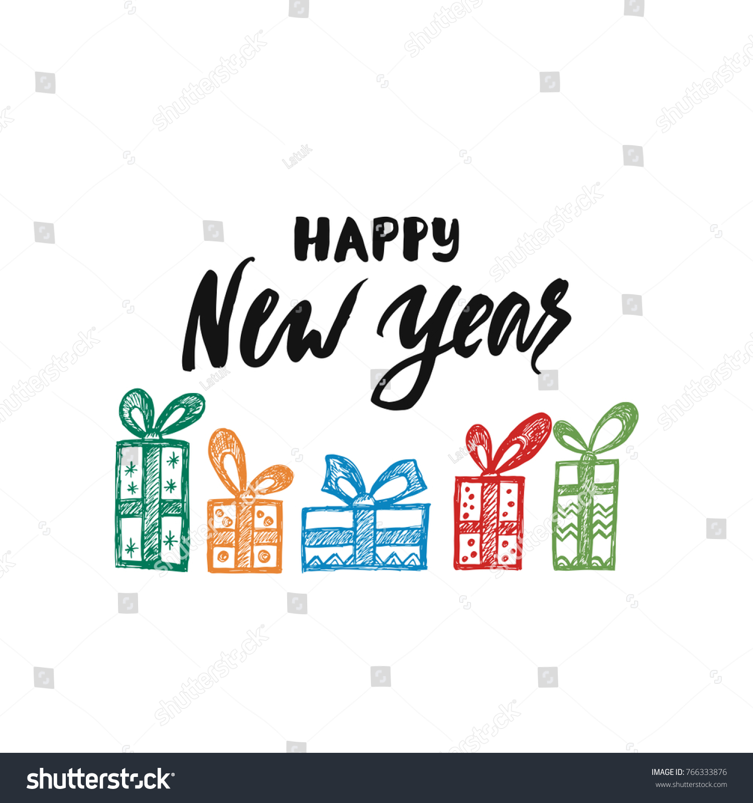 Happy New Year Phrase Holiday Lettering Stock Vector (Royalty Free ...