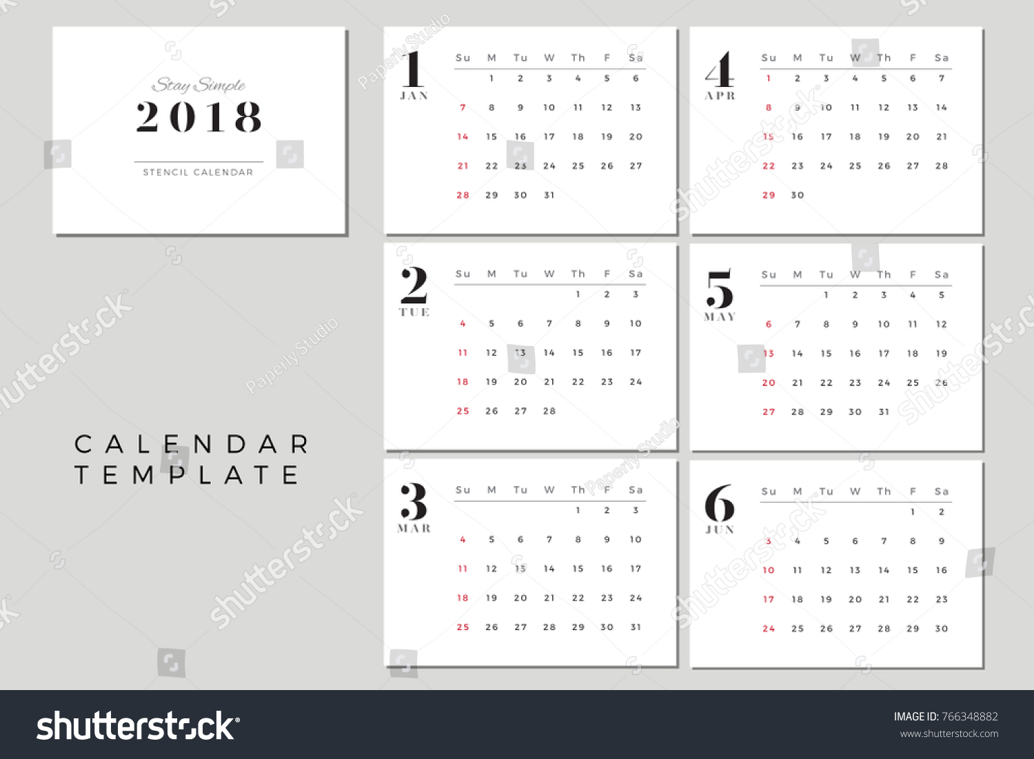 2018 Vector Calendar Template January June Stock Vector (Royalty ...