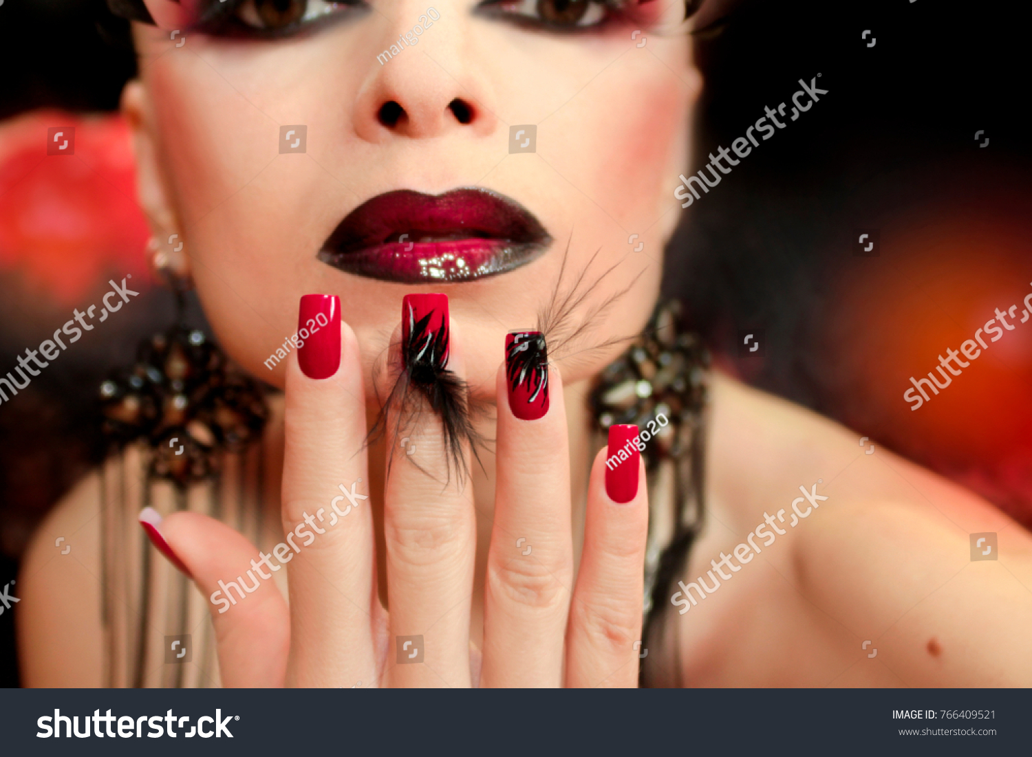 Black Red Makeup False Eyelashes Long Stock Photo 766409521 ...