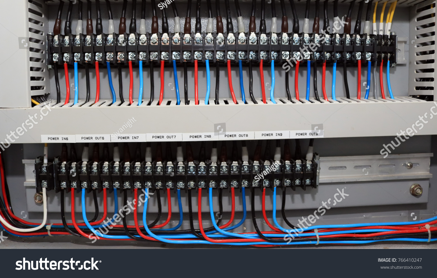 Electrical Power Circuit Control Wires Cable Stock Photo Edit Now Main Fuse Box With And Bolt In The